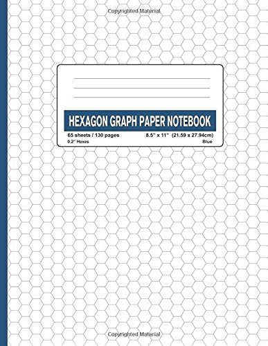 """Hexagon Graph Paper Notebook - 0.2"""" Hexes (Blue-130): 130 Pages Small Grids Hex Paper / Pad 0.2 Inch (Hexagonal Small Grids) (Volume 6) ebook"""