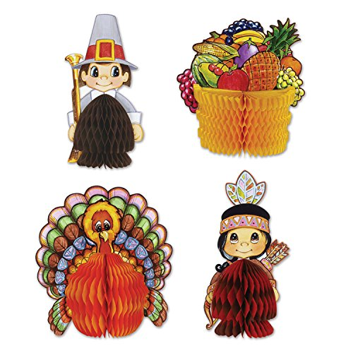 Beistle 4-Pack Decorative Thanksgiving Playmates, 4-Inch-5-Inch (Centerpiece Thanksgiving)