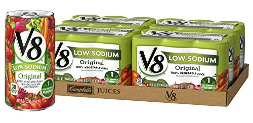 V8 Original Low Sodium 100% Vegetable Juice, 5.5 oz. Can (4 Packs of 6, Total of 24)