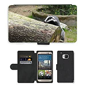 Hot Style Cell Phone Card Slot PU Leather Wallet Case // M00114325 Badger Animal Forest Mammal // HTC One M9