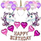 JoyJon Unicorn Party Supplies for Girls Birthday Decorations Unicorn Balloons Unicorn Headband Happy Birthday Banner Foil Balloons for Baby Shower Unicorn Party Favor