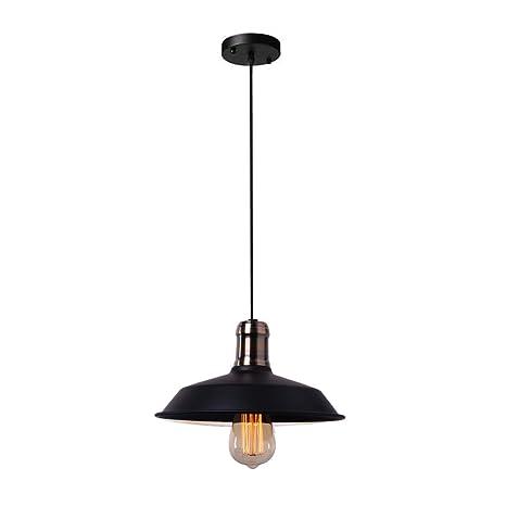 Vintage Industrial Style Pendant Light Fixture Bronze Head Black