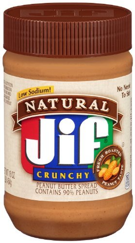 Jif, Natural Low Sodium Crunchy Peanut Butter Spread, 16oz Jar (Pack of 6)