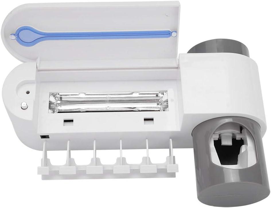 Porta spazzolino disinfettante a spazzolino UV con spazzolino Porta spazzolino spazzolino leggero a luce Contenitore con 5 spazzolini da denti Holding e 1 Distributore automatico di dentifricio EU