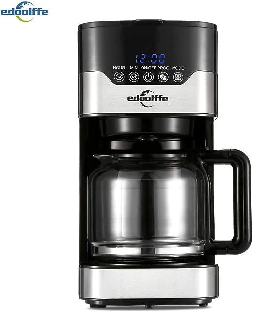 Edoolffe md-259t cafetera inteligente programable goteo cafetera con jarra de cristal 1.5L anti - goteo cafetera de acero inoxidable, Cafetera de plata: Amazon.es: Hogar