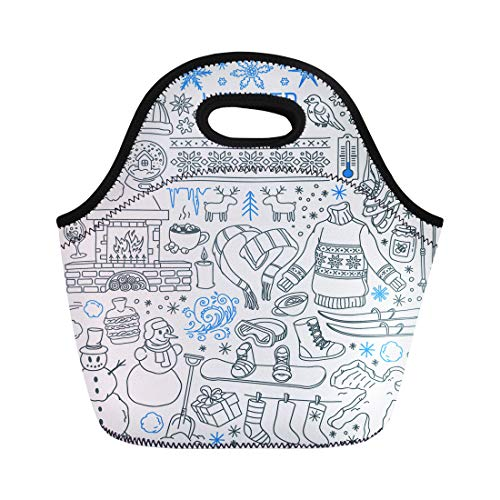 (Semtomn Lunch Bags Winter Season Doodle Snowflakes Icicles Classic Ornaments Knitted Wear Neoprene Lunch Bag Lunchbox Tote Bag Portable Picnic Bag Cooler)