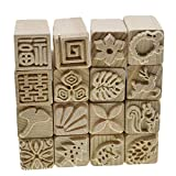 Hand Carved Wooden Stamps for Printing DIY Clay Pottery Printing Blocks Clay Tools Leaf/Fish Bone/Squirrel/Flower/Deer/Tree