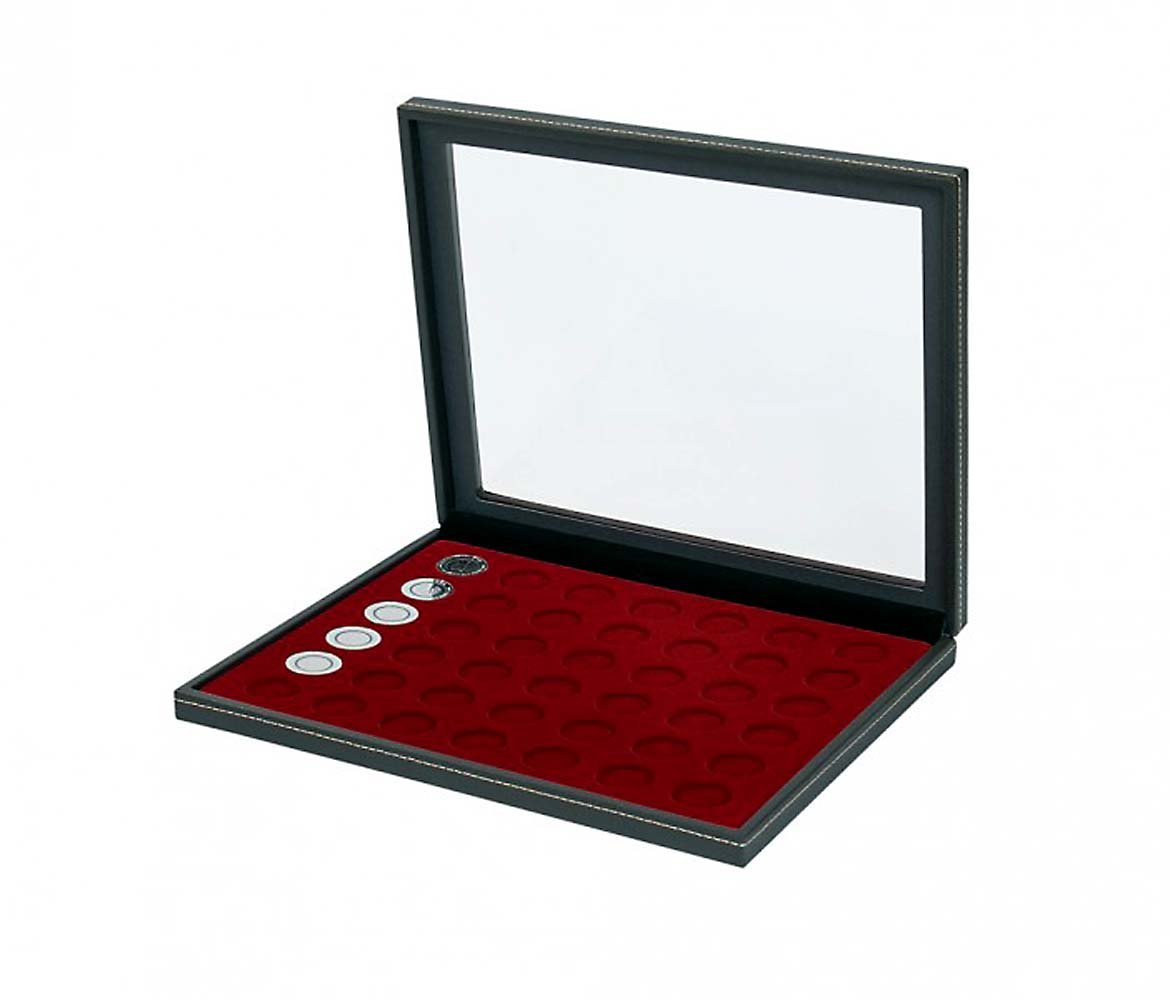 Lindner 2367-2707E Coin case NERA M PLUS with dark red insert with 42 round compartments for coins with Oslash; 27,5 mm, e.g. for 5 EURO coins GERMANY