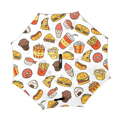 ALAZA U LIFE Cute Emoji Sandwich Hamburg Fast Food Reverse Inverted Umbrellas Reversible Sun Rain Umbrella for Car Outdoor Use With C-shaped Handle ()