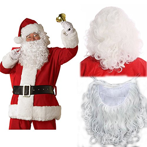 Thick Santa Wig and Beard Set Economy Father Christmas White Curly Wavy Long Wig for Christmas Day Costumes Fancy Dress Role Play 240g