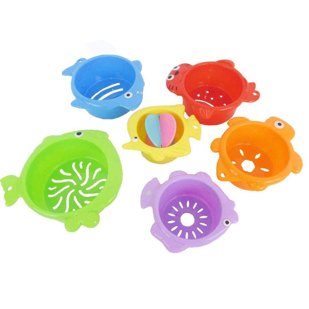 Xixini Baby Kinder Bunte überlappende Tasse Erleuchten Eltern-Kind-Bad-Dusche-Spielzeug