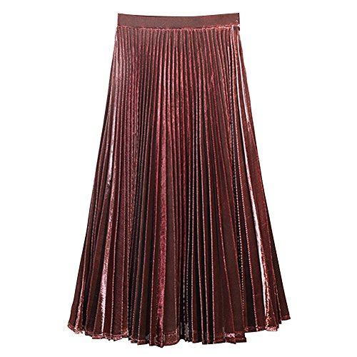Juleya Womens Metallic Luster Brillant Retro Jupes plisses Vin Rouge