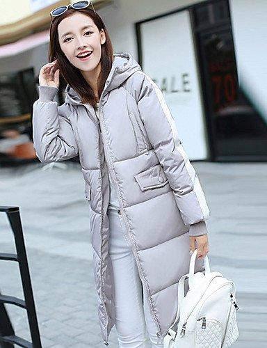 Hooded Padded L color CoatSimple LIGHTGRAY YRF Letter Cute Sleeve Women's chic Multi Long Solid Street wTxXRv