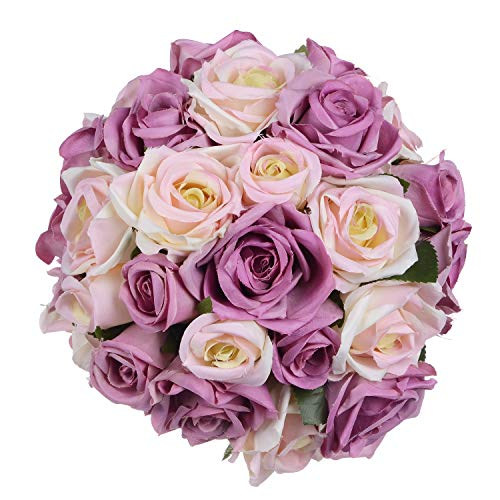 Artiflr Artificial Flowers Rose Bouquet 2 Pack Fake Flowers Silk Plastic Artificial White Roses 18 Heads Bridal Wedding Bouquet for Home Garden Party Wedding Decoration (Purple-White)