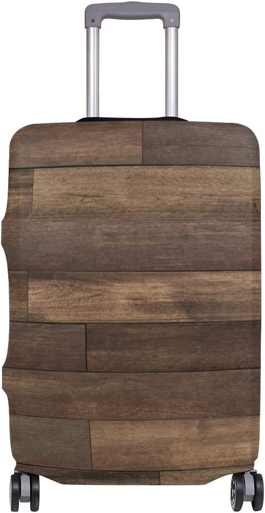 Travel Luggage Cover Brown Wood Board Rustic Barn Suitcase Protector