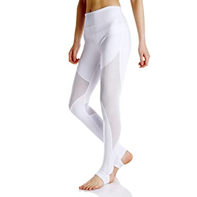5da3b46dd8647 SlendShaper Women Sexy Running Leggings Power Stretch High Waist Patchwork  Mesh Stirrup Yoga Pants(White,L): Amazon.co.uk: Clothing