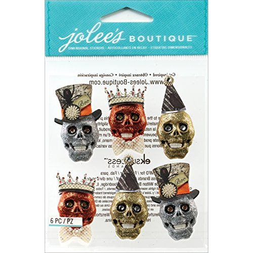 Jolee's Boutique Dimensional Stickers, Glitter Skulls