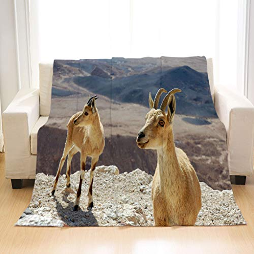 - BEIVIVI Soft Cozy Fluffy Flannel Blankets Two Ibexes on The Cliff Flannel Blanket Perfect for Couch Sofa Or Bed