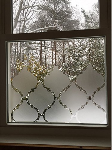 """Frosted Moroccan Adhesives Window Privacy Cover 4.25"""" x 3.75"""" Pieces Vinyl Film Smooth Glass Surface Tint"""