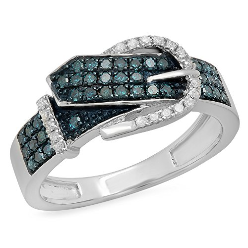 Buckle Right Hand Ring - 0.40 Carat (ctw) Sterling Silver Round Blue & White Diamond Buckle Right Hand Band (Size 7)