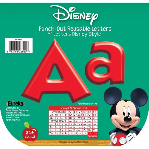 Eureka Back to School Disney Red Mickey Mouse Clubhouse Punch Out Deco Letters Classroom Decorations, 216pc, -