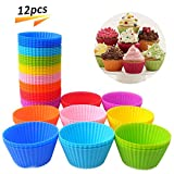 Reusable Silicone Baking Cups Mini Round Cupcake and Muffin Baking Cup,(Pack of 12)