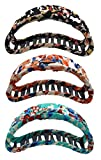 Fashion & Lifestyle 3 Pack 4-inch Large Hair Claws Jaw Clips for Women and Girls - Pretty Strong Clamp Non-Slip Barrettes Hair Updo Grips Bath Accessories for Thick Hair, Calico
