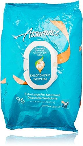 Premium Premoistened Adult Washcloths (Assurance Pre-Moistened Extra Large Disposable Washcloths, 96ct)