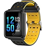 Smart Wristband, Heart Rate Monitor Tracker Smart Bracelet Bluetooth IP68 Waterproof Pedometer with Sleep Monitor Smartwatch for iPhone Samsung Android or iOS Smartphones for Adults Kids(yellow)