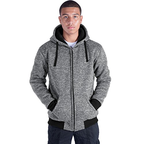 Eurogarment Plus Size S-5XL Marled Fleece Hoodie for Men Heavyweight Sherpa Lined Full Zip Up Big&Tall Long Sleeve Winter Jacket Coat(Lt.Grey, S)