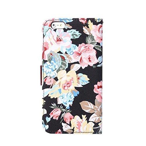 iPhone 6 Hülle,Apple iPhone 6 Hülle (4.7 Zoll) Lifetrut®[Blumen Schwarz Shading] Schutzhülle Flip PU Ledertasche Ständer Schutzhülle Tasche Hülle Case Cover mit Kreditkartensteckplätze für Apple iPhon