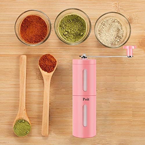 Poit Portable Manual Coffee Grinder Spice Herb Grinder for Beans, Pepper and Spice Herb, Pink