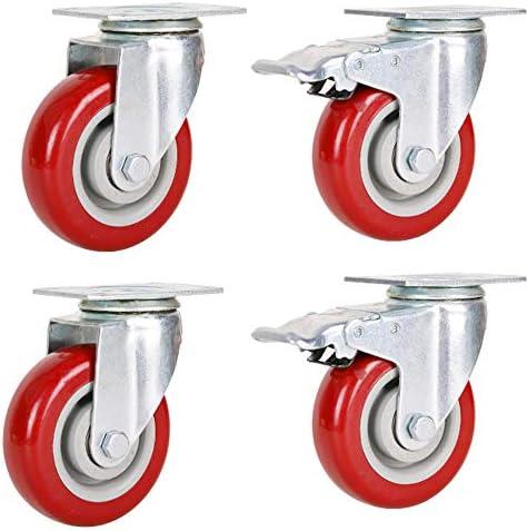 キャスター、2.5 / 3/4/5インチ方向性/ユニバーサル/ブレーキ中型サイレントポリウレタンキャスター、トロリーキャスター