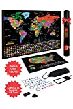 Scratch Off Map Of The World / United States USA , Scratchable Travel Wall Art , Large World Map Poster , Travel Tracker w/ US State & Country Flags – Memory Stickers , Magnifier & Scratch Art Tool