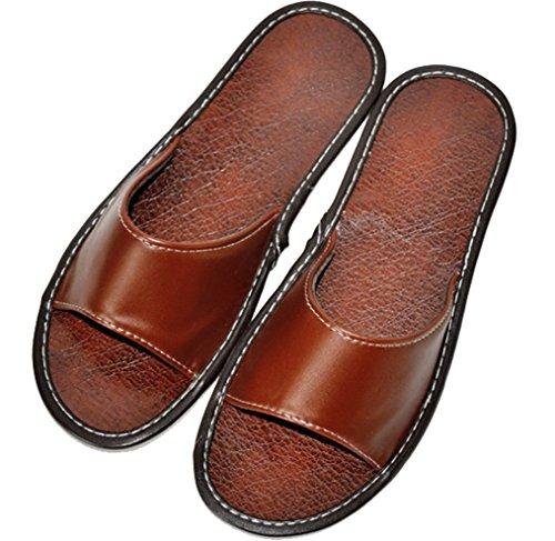 Pantofole Da Uomo Cattior Open Toe In Pelle Pantofole Estive Marrone Chiaro