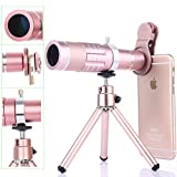 Phone Camera Lens and Portable Tripod with Universal Clip, Addprime 3 in 1 Zoom Lens 18X Telephoto Lens + 0.45X Wide Angle Lens distortion-free 15X Macro Lens for iPhone Samsung iPad Tablet Rose Gold
