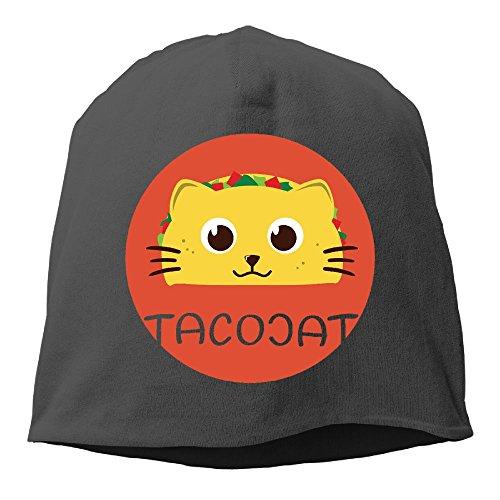 XUri Taco Cat Unisex Heather Beanie Black
