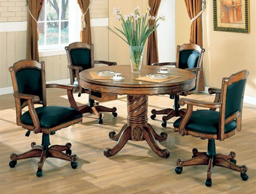 5pc 3-in-1 Game Dining Table & Arm Chairs Set Oak Finish