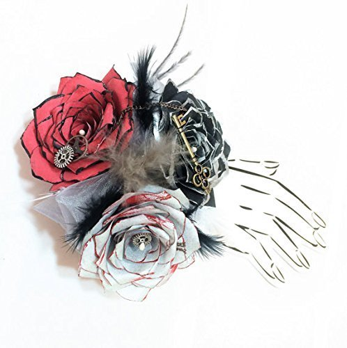 Steampunk paper rose corsage choice of pearl wrist or pin on