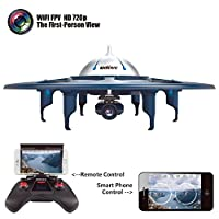 YANNI U845 Voyager Wifi FPV 2.4Ghz RC Headless Quadcopter Drone UFO with 720P HD Camera, Ios and Android Phone Control - Blue