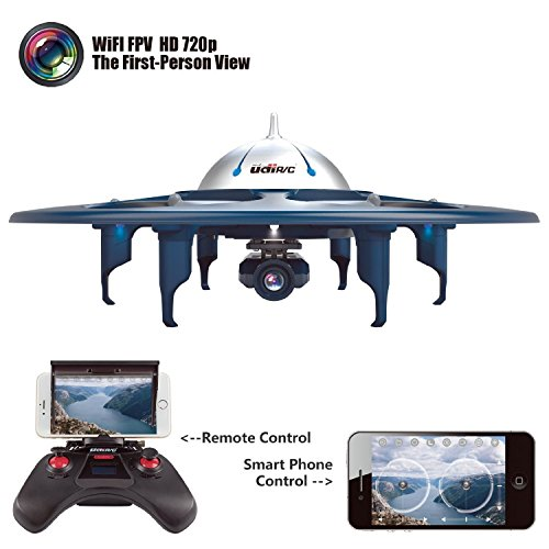 2016 Yanni UDI Newest U845 Voyager Wifi FPV 2.4Ghz RC Headless Quadcopter Drone UFO with 720P HD Camera, Ios & Android Phone Control(Blue)