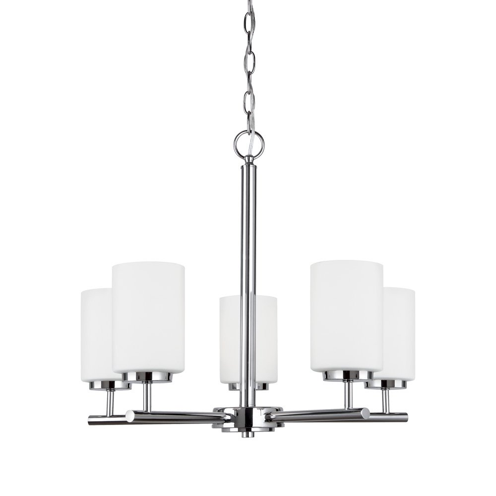 Sea Gull Lighting 31161-05 Oslo Five-Light Chandelier with Cased Opal Etched Glass Shades, Chrome Finish
