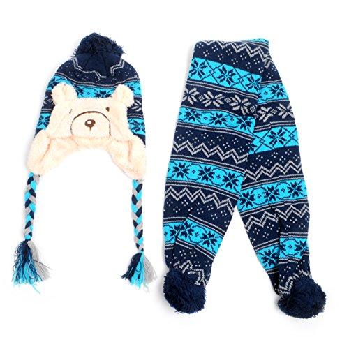 Kid's Scandinavian Bear Trapper Hat and Scarf Winter Set