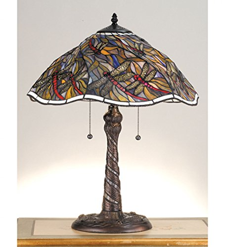 """StarSun Depot 23.5"""" H Spiral Dragonfly w/Twisted Fly Mosaic Base Table Lamp Dry"""