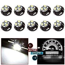 CCIYU 10 Pack White T5 Neo Wedge 3 SMD Led Bulbs A/C Climate Control LED Ligh Dash Base Light Lamps 12V T5/T4.7 - 12mm Base diameter For 2012 Chrysler etc.