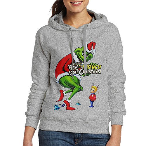 Women Hoodie How The Grinch Stole Christmas Crew Neck Long Sleeve Hoodie Ash US Size XL -