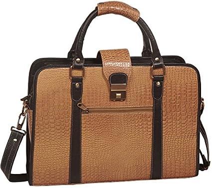 451128d34a Amazon.com  ZN Leather Laptop Briefcase Messenger Bag - Brown Croco Design  - Special Winter Sale  Computers   Accessories