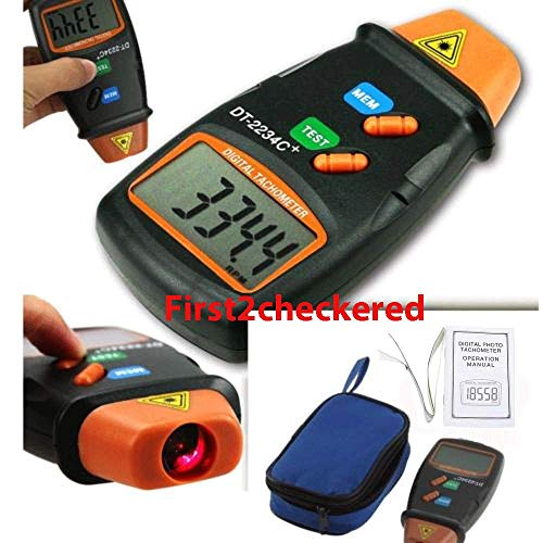 Click.Store Digital Tachometer Laser Photo Non Contact RPM Tach Meter Motor Speed Gauge New ()