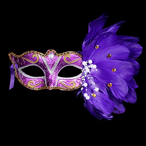 Fellibay Costume Mask Feather Masquerade Mask Halloween Mardi Gras Cosplay Party Mask for Girls Women (Purple) - Best Mardi Gras Costumes