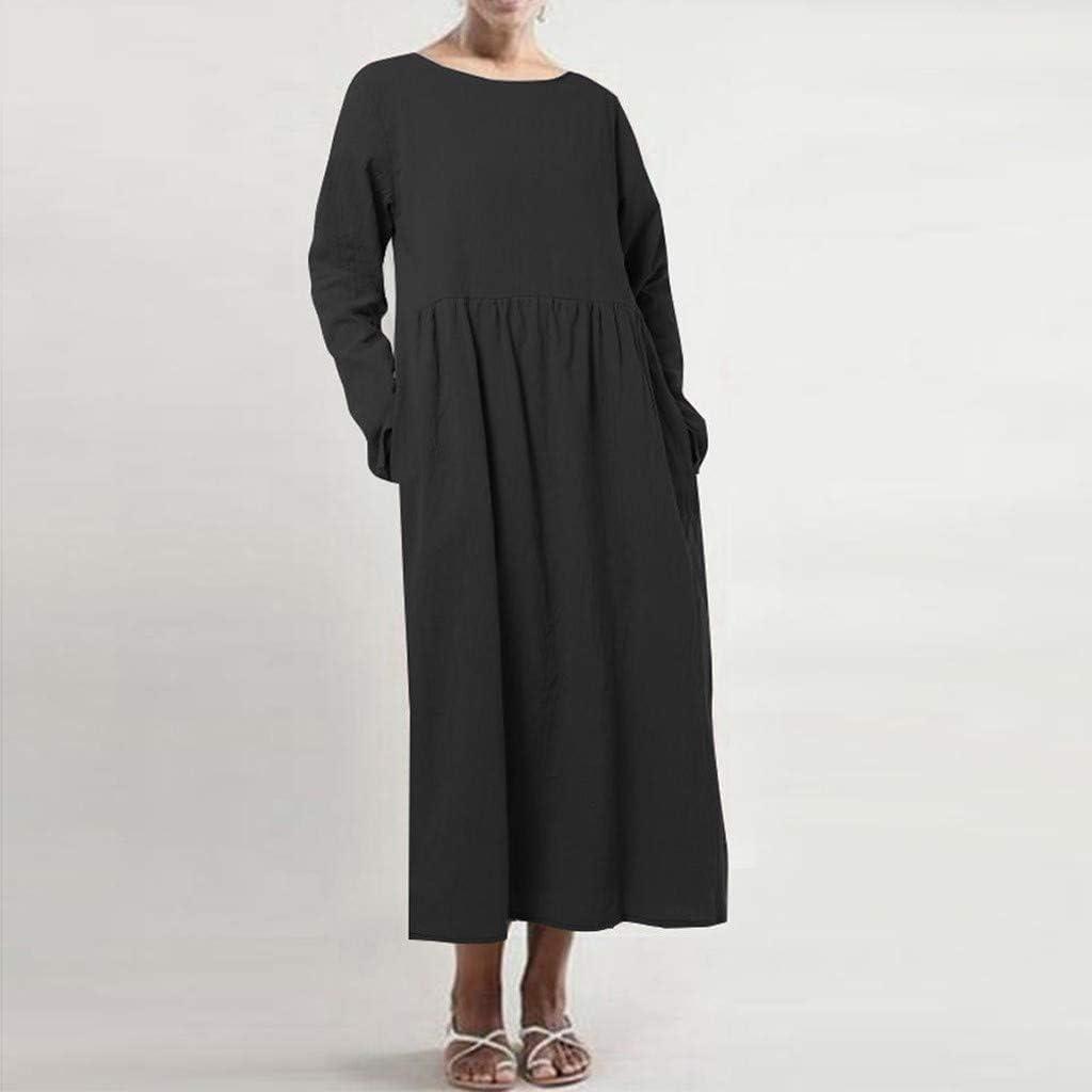 Reooly Bolsillo de Manga Larga, Vestido Largo de algodón de Lino de Moda para Mujer: Amazon.es: Ropa y accesorios